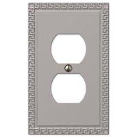 Amerelle Wallplates - Greek Key - Single Duplex Wallplate in Satin Nickel