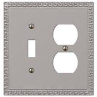 Amerelle Wallplates - Greek Key - Single Toggle Single Duplex Combo Wallplate in Satin Nickel