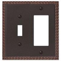 Amerelle Wallplates - Greek Key - Single Toggle Single Rocker Combo Wallplate in Aged Bronze