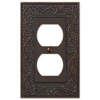 Amerelle Wallplates - English Garden - Single Duplex Wallplate in Aged Bronze