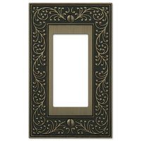 Amerelle Wallplates - English Garden - Single Rocker Wallplate in Brushed Brass