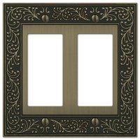 Amerelle Wallplates - English Garden - Double Rocker Wallplate in Brushed Brass