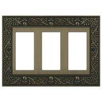 Amerelle Wallplates - English Garden - Triple Rocker Wallplate in Brushed Brass
