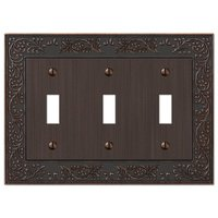 Amerelle Wallplates - English Garden - Triple Toggle Wallplate in Aged Bronze