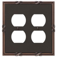 Amerelle Wallplates - Ribbon and Reed - Double Duplex Wallplate in Aged Bronze