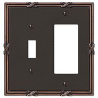 Amerelle Wallplates - Ribbon and Reed - Single Toggle Single Rocker Combo Wallplate in Aged Bronze
