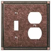 Amerelle Wallplates - Gregorian - Single Toggle Single Duplex Combo Wallplate in Tumbled Aged Bronze