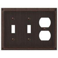 Amerelle Wallplates - Gregorian - Double Toggle Single Duplex Combo Wallplate in Aged Bronze