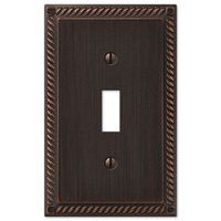 Amerelle Wallplates - Gregorian - Single Toggle Wallplate in Aged Bronze