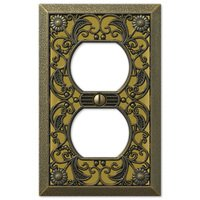 Amerelle Wallplates - Filigree - Single Duplex Wallplate in Antique Brass
