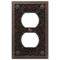 Amerelle Wallplates - Filigree - Single Duplex Wallplate in Aged Bronze