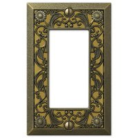 Amerelle Wallplates - Filigree - Single Rocker Wallplate in Antique Brass