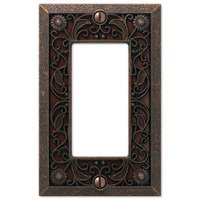 Amerelle Wallplates - Filigree - Single Rocker Wallplate in Aged Bronze