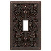 Amerelle Wallplates - Filigree - Single Toggle Wallplate in Aged Bronze