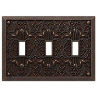 Amerelle Wallplates - Filigree - Triple Toggle Wallplate in Aged Bronze