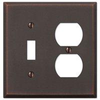 Amerelle Wallplates - Manhattan - Single Toggle Single Duplex Combo Wallplate in Aged Bronze