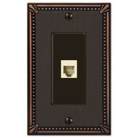 Amerelle Wallplates - Imperial Beaded - Single Phone Wallplate in Aged Bronze