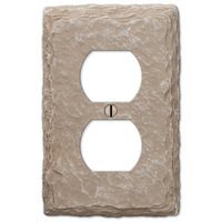 Amerelle Wallplates - Faux Slate - Resin Single Duplex Wallplate in Faux Slate Almond