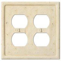Amerelle Wallplates - Faux Stone - Resin Double Duplex Wallplate in Faux Slate Ivory