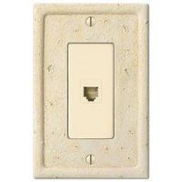 Amerelle Wallplates - Faux Stone - Resin Single Phone Wallplate in Faux Slate Ivory
