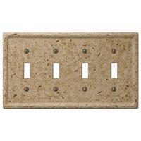 Amerelle Wallplates - Faux Stone - Resin Quadruple Toggle Wallplate in Faux Slate Noce