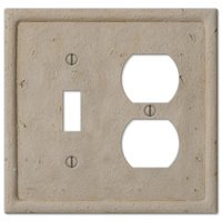 Amerelle Wallplates - Faux Stone - Resin Single Toggle Single Duplex Combo Wallplate in Faux Slate Beige