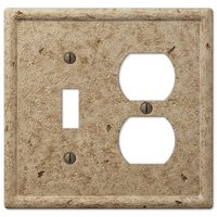 Amerelle Wallplates - Faux Stone - Resin Single Toggle Single Duplex Combo Wallplate in Faux Slate Noce