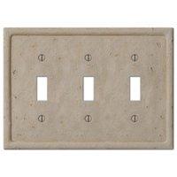Amerelle Wallplates - Faux Stone - Resin Triple Toggle Wallplate in Faux Slate Beige