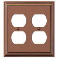 Amerelle Wallplates - Steps - Double Duplex Wallplate in Antique Copper