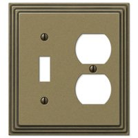 Amerelle Wallplates - Steps - Single Toggle Single Duplex Combo Wallplate in Antique Brass