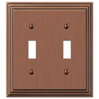 Amerelle Wallplates - Steps - Double Toggle Wallplate in Antique Copper
