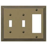 Amerelle Wallplates - Steps - Double Toggle Single Rocker Combo Wallplate in Rustic Brass