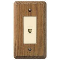 Amerelle Wallplates - Contemporary - Wood Single Phone Wallplate in Medium Oak