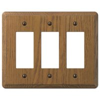 Amerelle Wallplates - Contemporary - Wood Triple Rocker Wallplate in Medium Oak