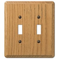 Amerelle Wallplates - Contemporary - Wood Double Toggle Wallplate in Light Oak