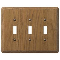 Amerelle Wallplates - Contemporary - Wood Triple Toggle Wallplate in Medium Oak