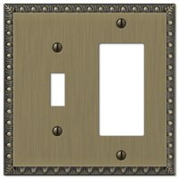 Amerelle Wallplates - Egg and Dart - Single Toggle Single Rocker Combo Wallplate in Brushed Brass