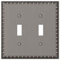 Amerelle Wallplates - Egg and Dart - Double Toggle Wallplate in Antique Nickel