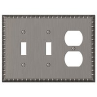 Amerelle Wallplates - Egg and Dart - Double Toggle Single Duplex Combo Wallplate in Antique Nickel