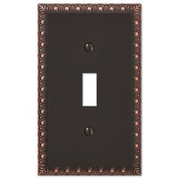 Amerelle Wallplates - Egg and Dart - Single Toggle Wallplate in Aged Bronze