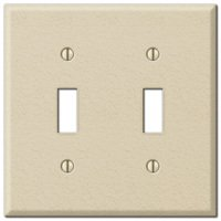 Amerelle Wallplates - Contractor - Double Toggle Wallplate in Ivory Wrinkle