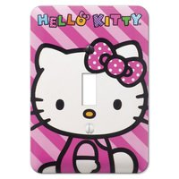 Amerelle Wallplates - Juvenile - Hello Kitty Single Toggle Wallplate in Painted