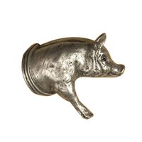 Anne at Home - Farm Animal - Pig Knob (Facing Right) in Pewter Matte