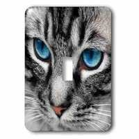 Jazzy Wallplates - Animals - Single Toggle Switch Plate With Silver Tabby Cat Face With Blue Eyes.