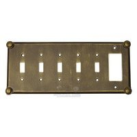 Anne at Home - Button - Button Switchplate Combo Rocker/GFI Five Gang Toggle Switchplate in Pewter Matte