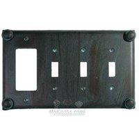 Anne at Home - Button - Button Switchplate Combo Rocker/GFI Triple Toggle Switchplate in Pewter Matte