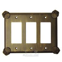 Anne at Home - Oceanus - Oceanus Switchplate Triple Rocker/GFI Switchplate in Pewter Matte