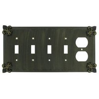 Anne at Home - Fleur De Lis - Fleur De Lis 4 Toggle/1 Duplex Outlet Switchplate in Pewter Matte