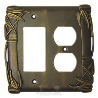Anne at Home - Bamboo - Bamboo Switchplate Combo Rocker/GFI Duplex Outlet Switchplate in Pewter Matte