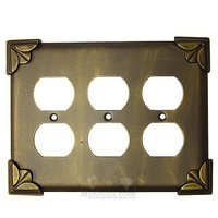Anne at Home - Pompeii - Pompeii Switchplate Triple Duplex Outlet Switchplate in Pewter Matte